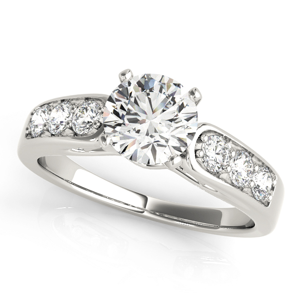 Classic Cathedral Diamond Pave Engagement Ring with Filigree