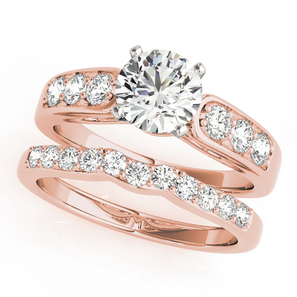 Classic Cathedral Diamond Pave Bridal Set with Filigree in Rose Gold