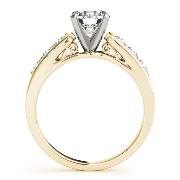 Classic Cathedral Diamond Pave Engagement Ring with Filigree in Yellow Gold