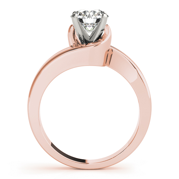 Duo Band Swirl Solitaire Bridal Set Rose Gold