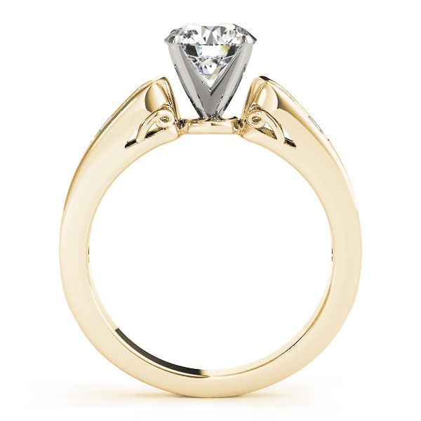 Cathedral Diamond Engagement Ring with Filigree in Yellow Gold
