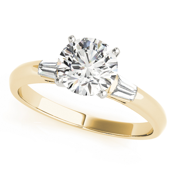 Classic Baguette Cut Diamond Engagement Ring Yellow Gold