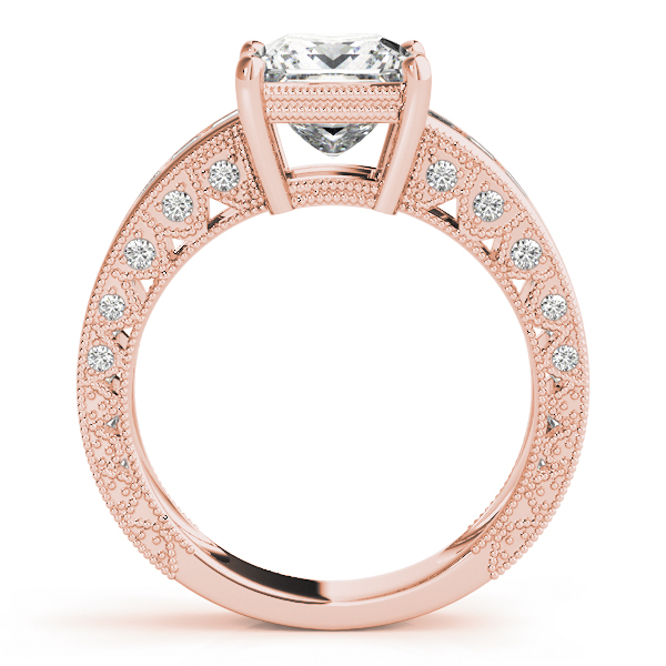 Vintage Princess Cut Diamond Bridal Set with Filigree & Pave Accents in Rose Gold