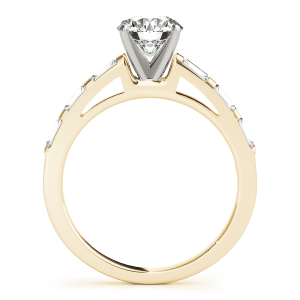 Classic Cathedral Baguette Cut Diamond Engagement Ring in Yellow Gold