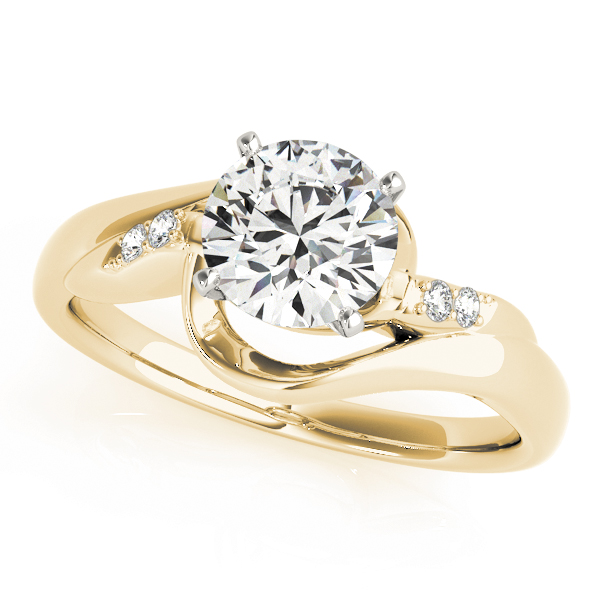 5 Diamond Swirl Engagement Ring Yellow Gold