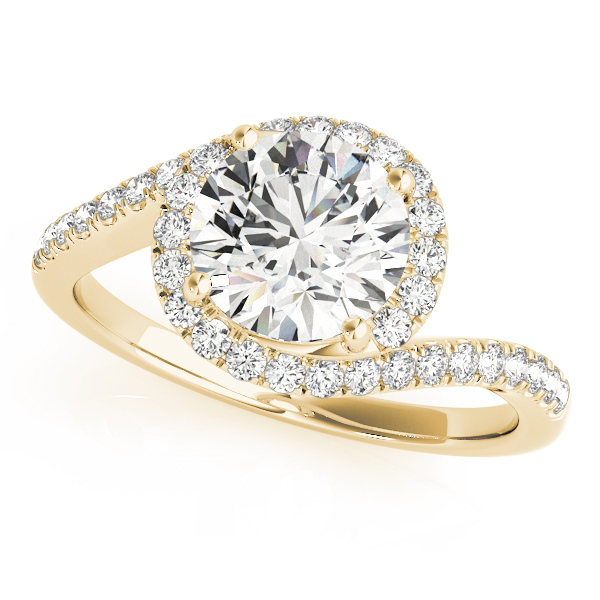 Swirl Diamond Halo Engagement Ring for Large Diamonds in Yellow Gold