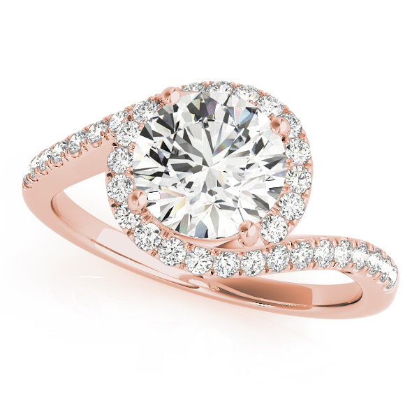 Swirl Diamond Halo Bridal Set for Large Diamonds in Rose Gold