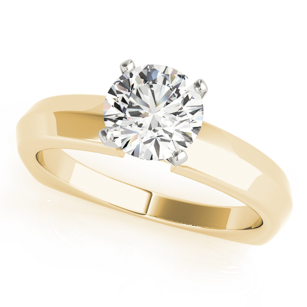 Classic Knife Edge Solitaire Engagement Ring with Square Band in Yellow Gold