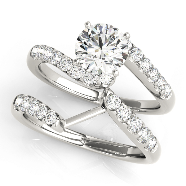 Petite Swirl Diamond Bridal Set in White Gold