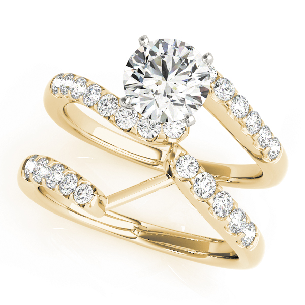 Petite Swirl Diamond Bridal Set in Yellow Gold