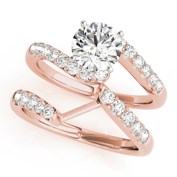 Petite Swirl Diamond Bridal Set in Rose Gold