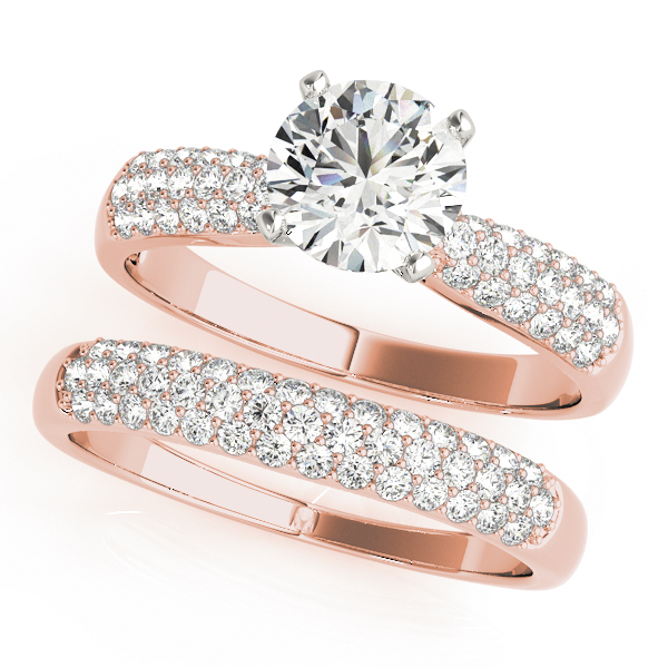 Graduated Etoil Triple Row Diamond Bridal Set in Rose Gold