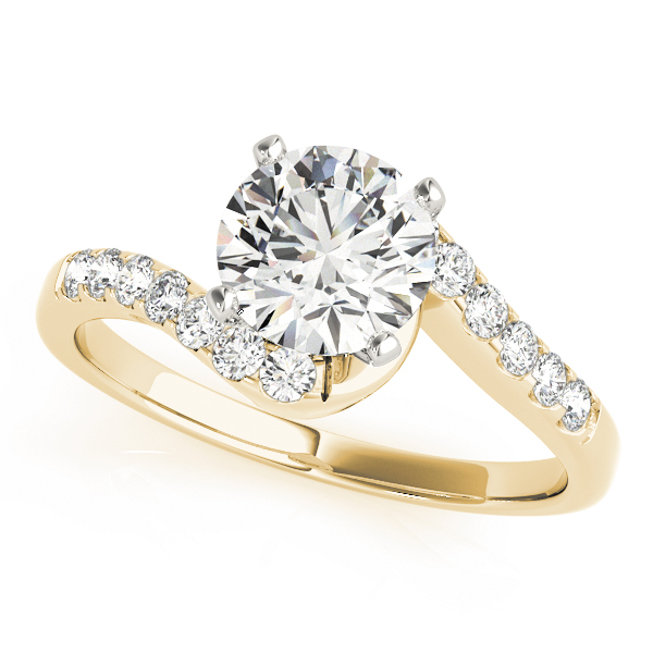 Petite Swirl Diamond Engagement Ring in Yellow Gold