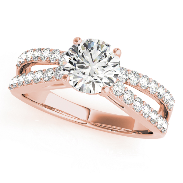 Split Band Diamond Bridal Set with Floral Prongs in Rose Gold