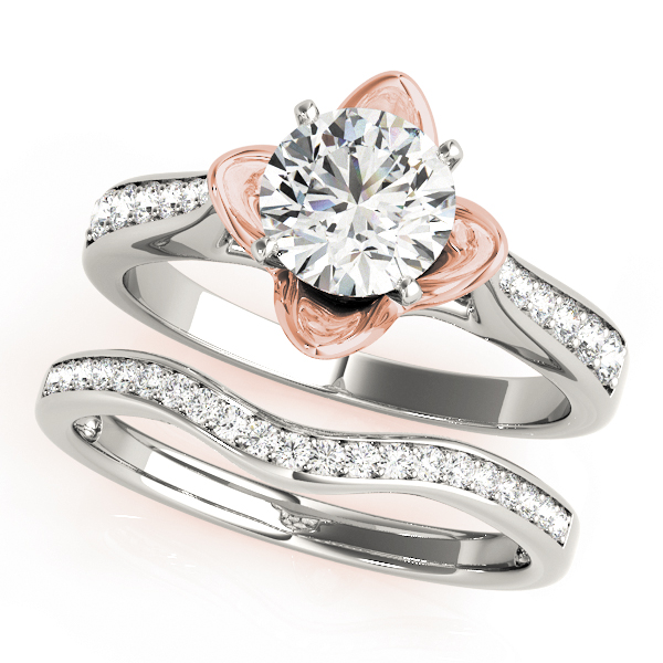 Cathedral Lotus Diamond Bridal Set in Rose Gold with Crown