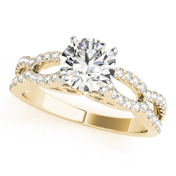 Petite Diamond Engagement Ring with Split Band in Yellow Gold