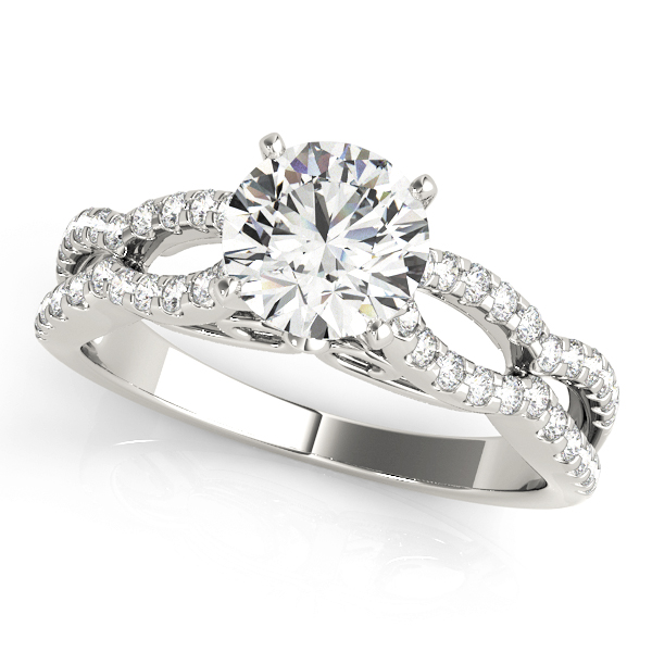 Petite Diamond Engagement Ring with Split Band