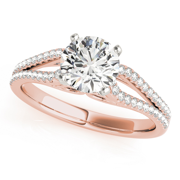 Petite Diamond Bridal Set with Horseshoe Split Band