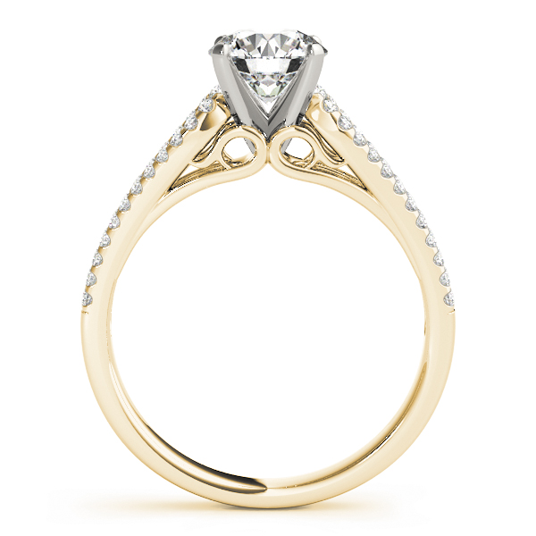 Petite Diamond Engagement Ring with Horseshoe Split Band in Yellow Gold
