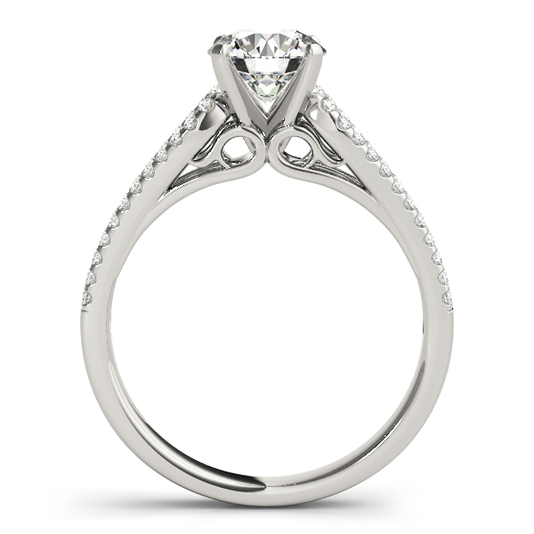 Petite Diamond Engagement Ring with Horseshoe Split Band
