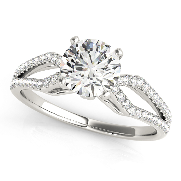 Petite Diamond Engagement Ring with Kite Shaped Split Band