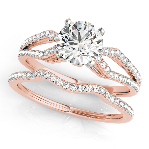 Petite Diamond Bridal Set with Kite Shaped Split Band in Rose Gold