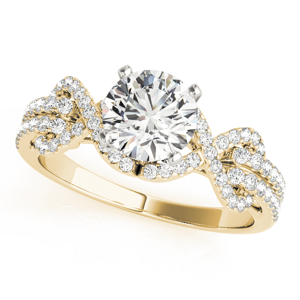 Infinity Love Knot Diamond Engagement Ring Yellow Gold