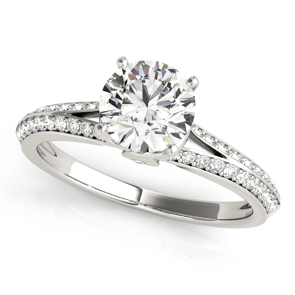 Knife Edge Split Band Engagement Ring Heart