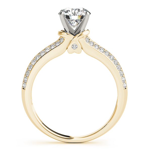 Knife Edge Split Band Engagement Ring Heart Yellow Gold