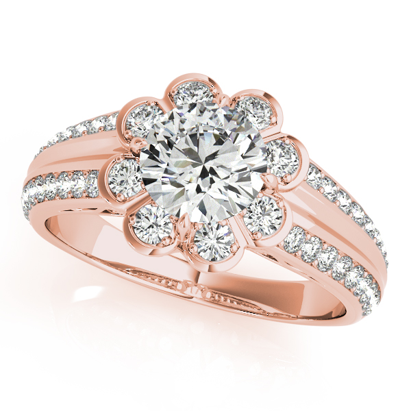 Floral Filigree Diamond Bridal Set Rose Gold