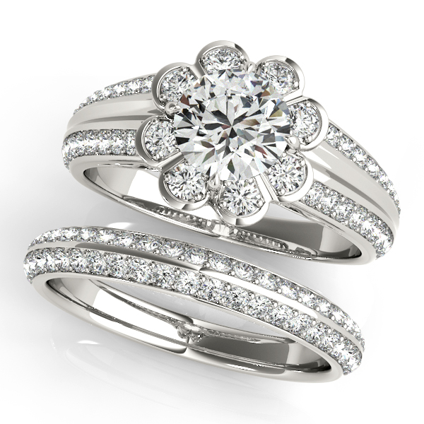 Floral Filigree Diamond Bridal Set