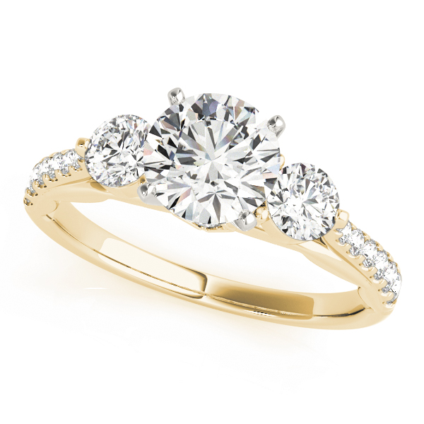 Three Stone Cathedral Engagement Ring with Crescent Side Design Yellow Gold