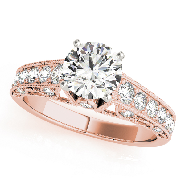 Vintage Diamond Bridal Set with Filigree & Milligrain in Rose Gold