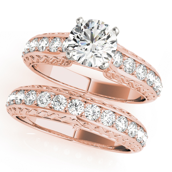 Classic Diamond Bridal Set with Engraving in Rose Gold