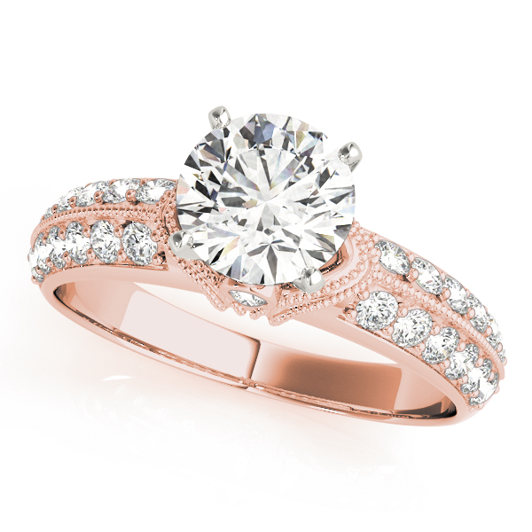 Knife Edge Diamond Bridal Set with Milligrain in Rose Gold