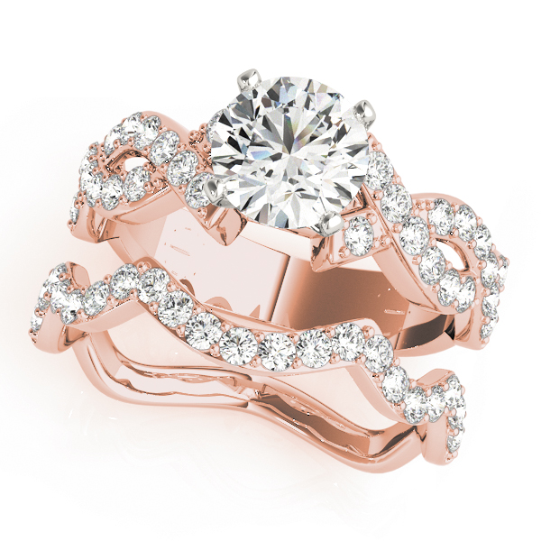 Intertwined Petite Diamond Bridal Set in Rose Gold