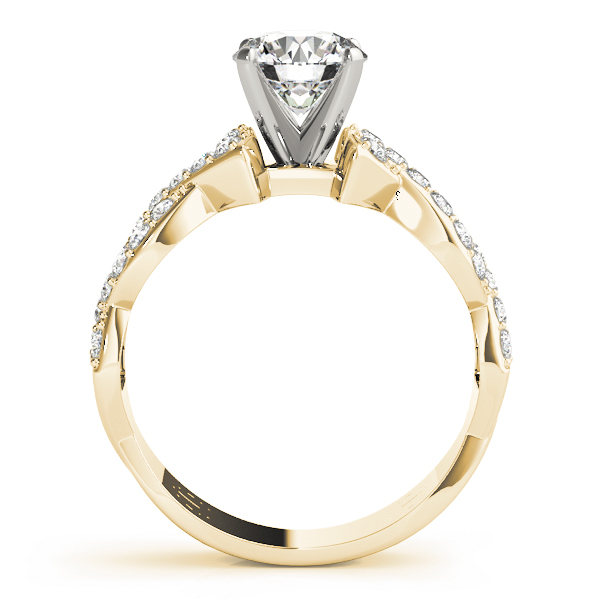 Intertwined Petite Diamond Engagement Ring in Yellow Gold