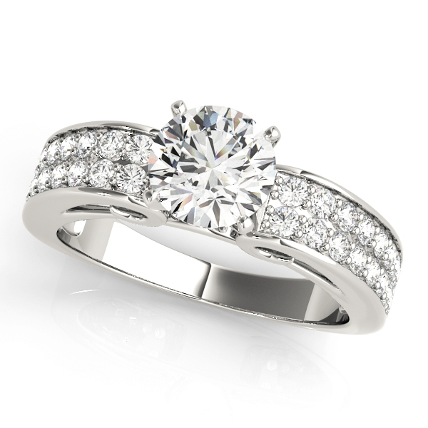 Double Row Cathedral Diamond Engagement Ring