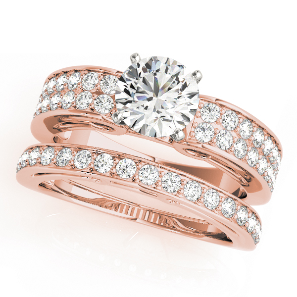 Double Row Cathedral Diamond Bridal Set in Rose Gold