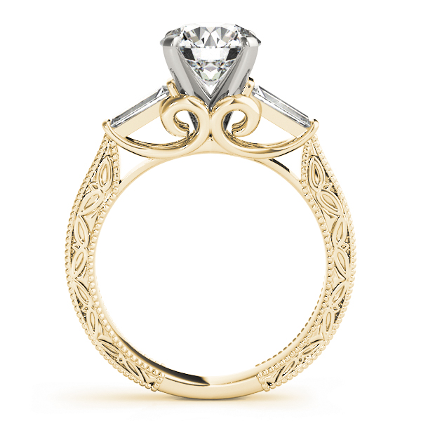 Engraved Filigree Baguette Diamond Ring Yellow Gold