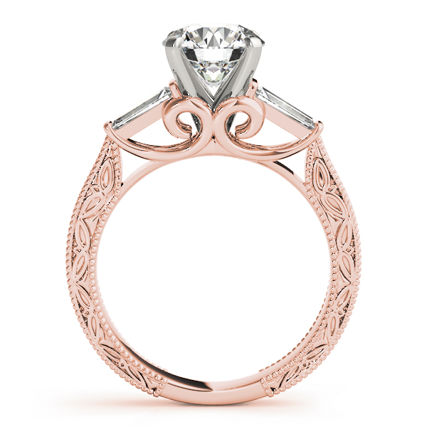 Engraved Filigree Baguette Bridal Set Rose Gold