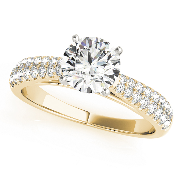 Graduated Cathedral Double Row Diamond Engagement Ring in Yellow Gold