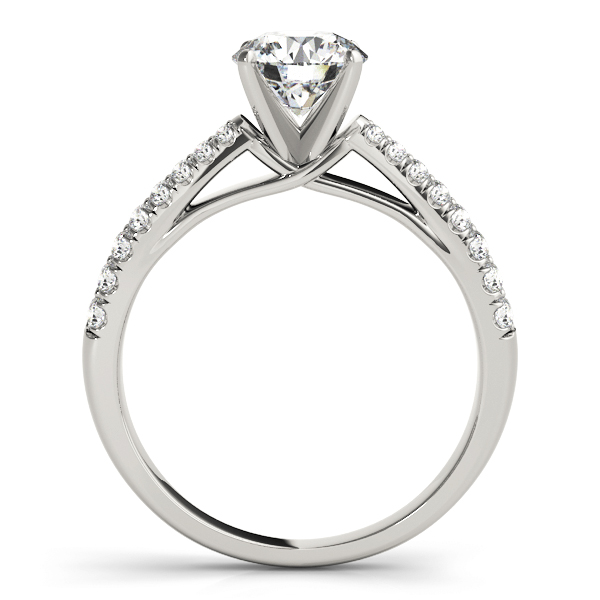 Graduated Cathedral Double Row Diamond Engagement Ring