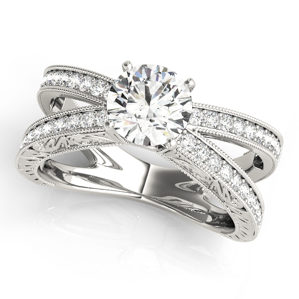 Split Band Butterfly Diamond Engagement Ring, Engraved Band