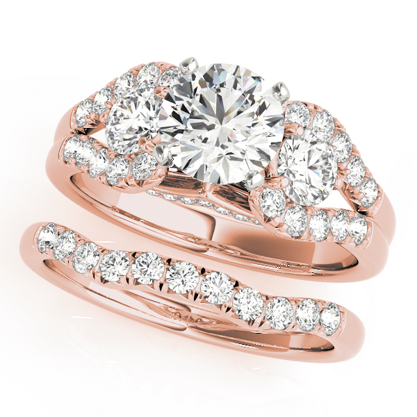 3 Stone Split Band Diamond Bridal Set Rose Gold