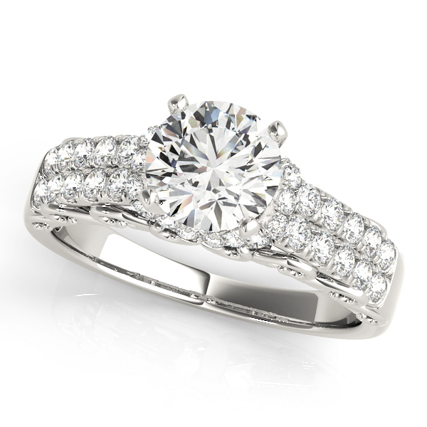 Filigree Double Row Diamond Engagement Ring