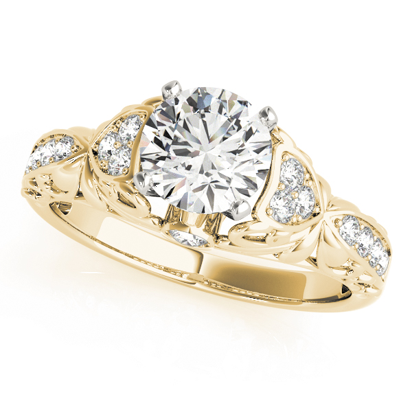Floral Cathedral Diamond Engagement Ring Yellow Gold