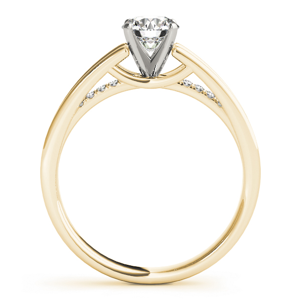 Petite Diamond Split Band Engagement Ring in Yellow Gold