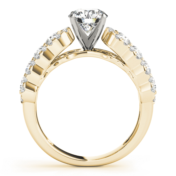 Wave Diamond Engagement Ring Yellow Gold