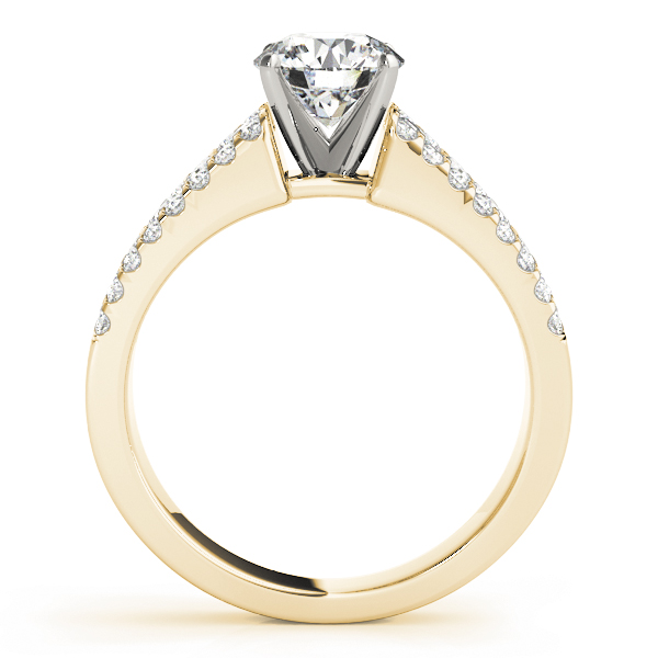 Three row band engagement ring, Yellow Gold